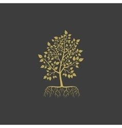 Tree with roots logo element vector