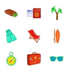 Trip to sea icons set cartoon style vector image