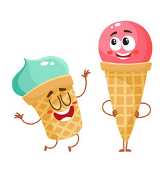 Two funny ice cream characters - strawberry cone vector