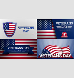 veterans military day banner set cartoon style vector image