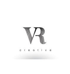 vr logo design with multiple lines and black and vector image