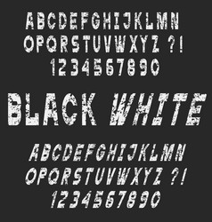 white grunge alphabet letters and numbers vector image