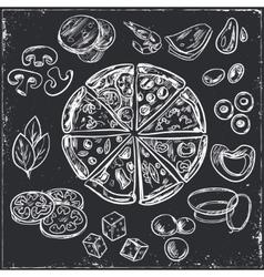 Whole and sliced italian pizza vector