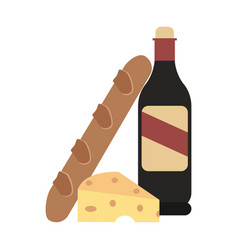 Wine bottle and bread with cheese vector