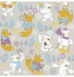 Winter bear wallpaper vector
