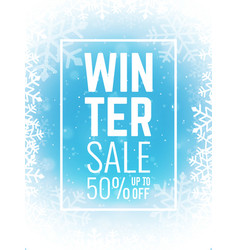 winter sale on blue background with snowflakes vector image