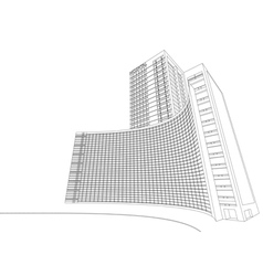 Wireframe hospital building vector image