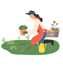 woman gardening lady with flowers in pots vector image