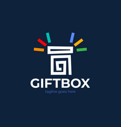 wonder gift delight present surprise blue open vector image