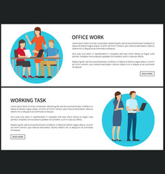 Working task office work set vector