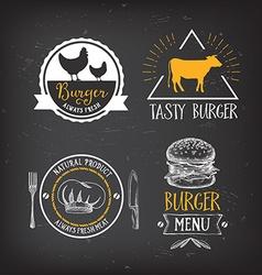 Burger menu restaurant badges Fast food design vector image vector image