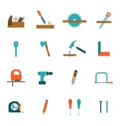 Carpentry tools flat icons set vector