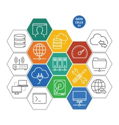Data cells with icons - computers and network vector image vector image