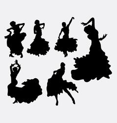 Female flamenco dancer silhouettes vector