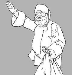 santa claus waving and holding a sack vector image