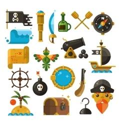 Sea adventure pirate weapon treasure vector image