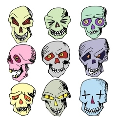 Colorful hand-painted skull vector image vector image