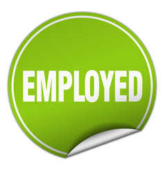 Employed round green sticker isolated on white vector