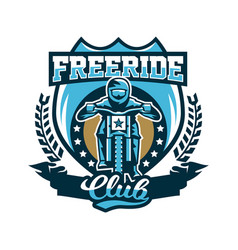 logo emblem of the rider riding a mountain bike vector image vector image