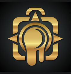 logo of the golden camera with a leaking lens vector image