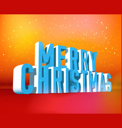 merry christmas isometric wording template vector image vector image