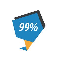Ninety nine percent label blue yellow black vector