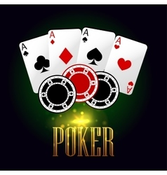 Poker banner with playing cards and chips vector image