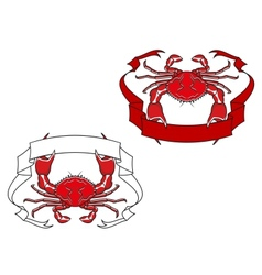Red crab with ribbon in claws vector image