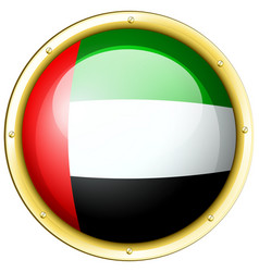 arab emirates flag on round metal badge vector image