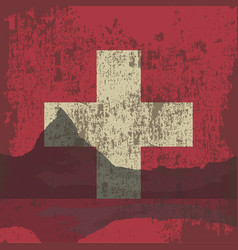 mountains of switzerland and the state flag vector image vector image