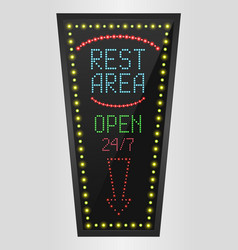 retro sign with blue lights and the word rest area vector image