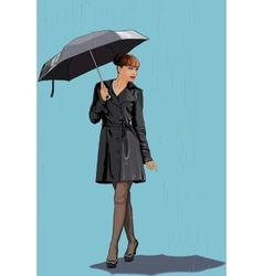 The girl with an umbrella in the rain vector image vector image