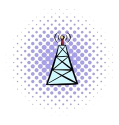 Cell phone tower icon comics style vector image
