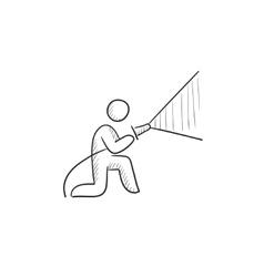 Fireman spraying water sketch icon vector image vector image