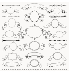 Hand Drawn Vintage Frames Ribbons Banners vector image vector image