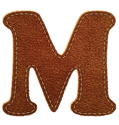 Leather textured letter M vector image