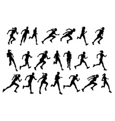 runners running silhouettes vector image vector image