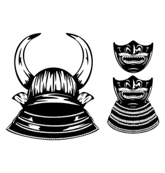 samurai helmet with horns and mempo vector image