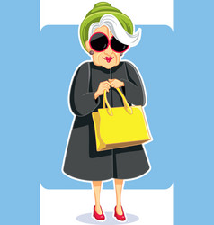 Senior fashion lady holding purse vector