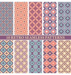 set of 10 retro seamless patterns vector image vector image
