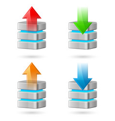 set of computer database with upload and download vector image vector image