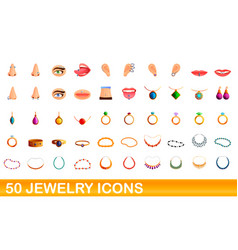 50 jewelry icons set cartoon style vector image