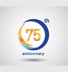 75 anniversary design with blue and golden circle vector