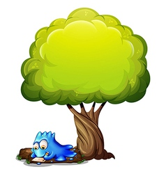 A blue monster writing a letter under the tree vector image