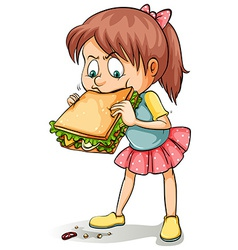 A young girl with a sandwich vector