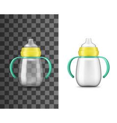 babottle milk feeding realistic mockup vector image