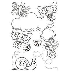 Baby animals coloring book vector