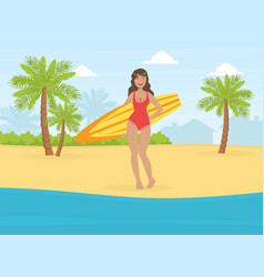 Beautiful girl in swimsuit standing with surfboard vector