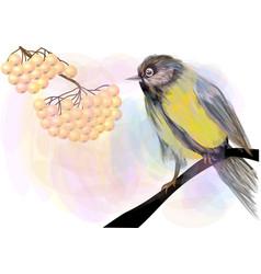 bird and berries vector image