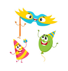 birthday item characters - hat balloon mask vector image